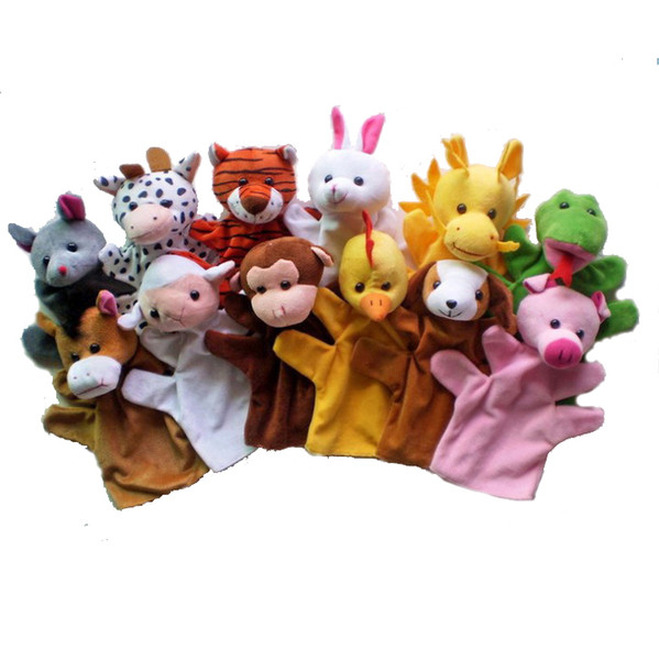 best selling 12Pcs Lot Funny Hand Puppets For Kids Plush Hand Puppets For Sale Chinese Zodiac Style Cartoon Hand Puppets Large Size