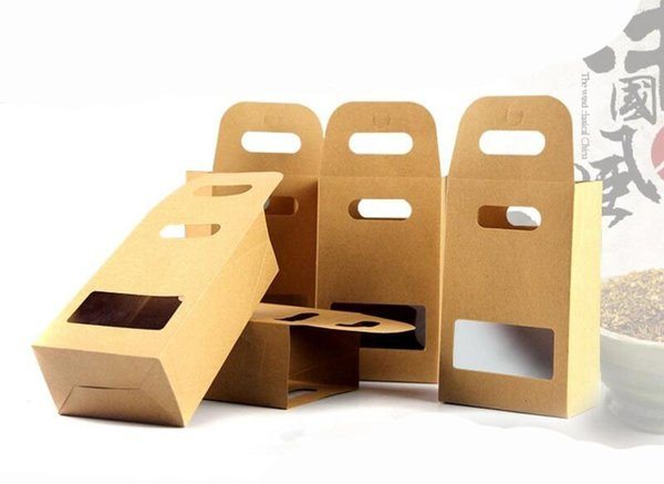 10x15cm Kraft Paper Food Packaging Bag Window and Handle, for Baking Food Cookies Candy Meat Beans,100 Pcs