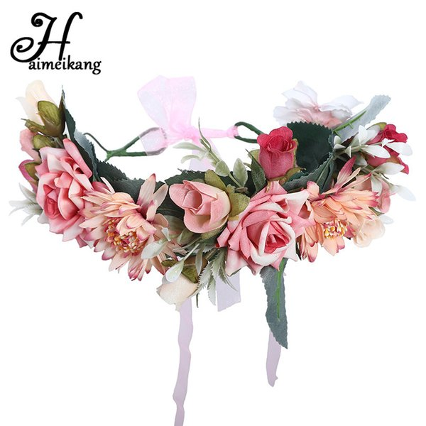 Haimeikang Frauen Lünette Blume Crown Bridal Floral Stirnband Kranz New Spring Girls Hochzeit Haarschmuck Brautjungfer Tiara