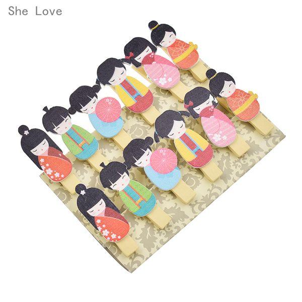 Craft Kağıt O Aşk 12 adet Kawaii Japon Bebek Ahşap Klip Fotoğraf Kağıdı Clothespin Craft Parti Dekorasyon Kenevir Halat ile