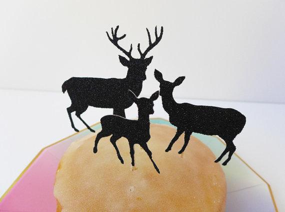 Glitter Reindeer Christmas birthday cupcake toppers baptism wedding engagement decoration doughnut food treats picks