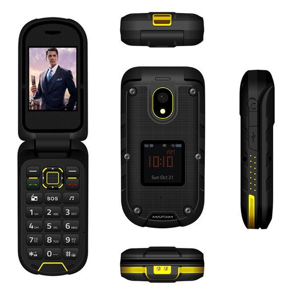 Ioutdoor F2 Teléfono móvil Flip Dual Display Docking Station SOS Torch LED Senior 2.4 pulgadas resistente al agua Rugged CellPhone