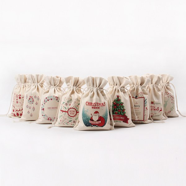 New Christmas Gift Bag Pure Cotton Canvas Drawstring Sack Bags With Xmas Santa Design For Gifts Candy