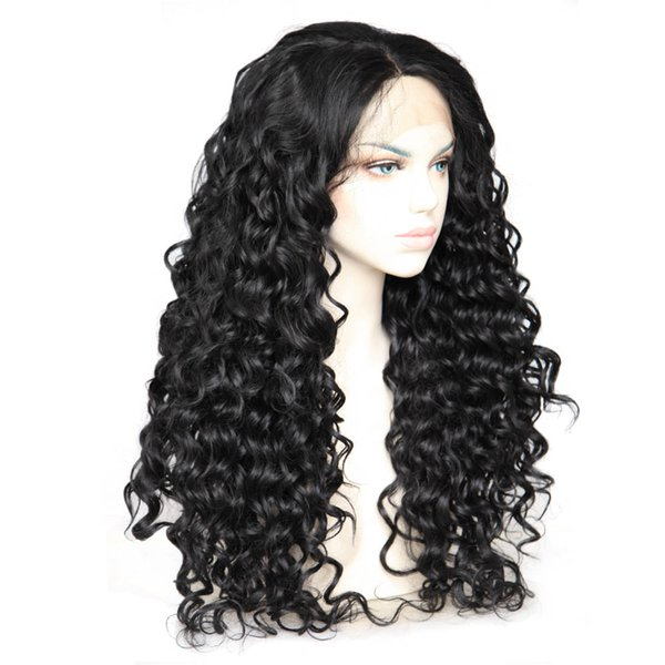 Free Shipping Layered Synthetic Glueless Lace Front Wig Curly #1b black Color Synthetic Fiber Lace Wig for women