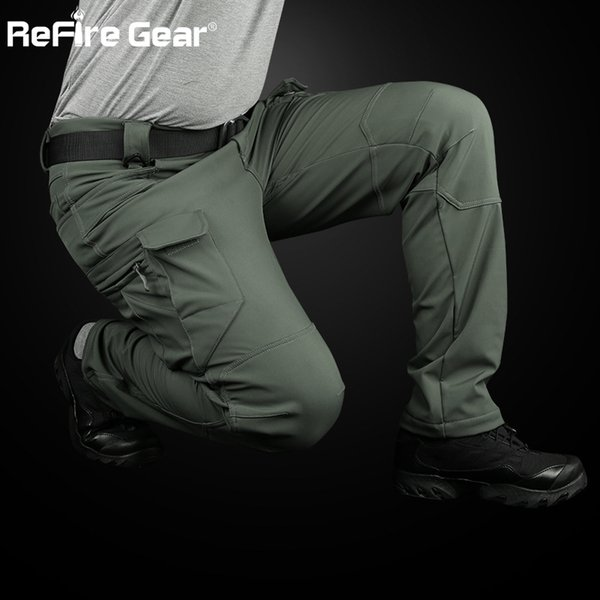 ReFire Gear IX7 Soft Shell Tactical Cargo Pants Men Waterproof SWAT Multi-Pocket Army Pants Winter Warm Fleece Trousers