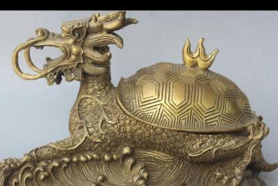 "671115270++10"" China Chinese Folk Brass Dragon tortoise Turtle Statue Incense Burner Censer"