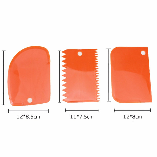 Wholesale- Plain Smooth Jagged Edge Spatulas Cutters Baking Pastry Tools Dough Icing Fondant Scraper Cake Decorating
