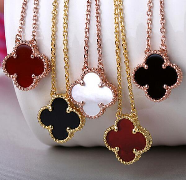 Heißer Verkauf Markenlogo Außenhandel Charme Liebhaber Blumen Halskette Rose Gold Shell Halskette für Frauen nicht verblassen Großhandel