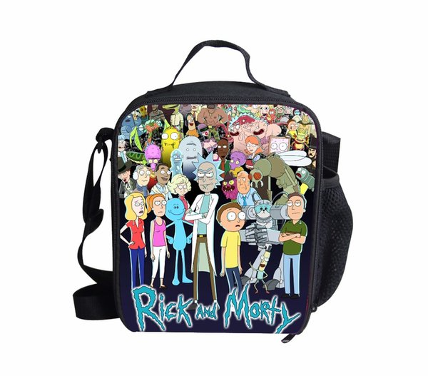 Wholesale Rick And Morty Lunch Box Bags Cartoon Lunch Bag Kids Daily Picnic Pouch Portable Insulated Christmas Gift FORUDESIGNS