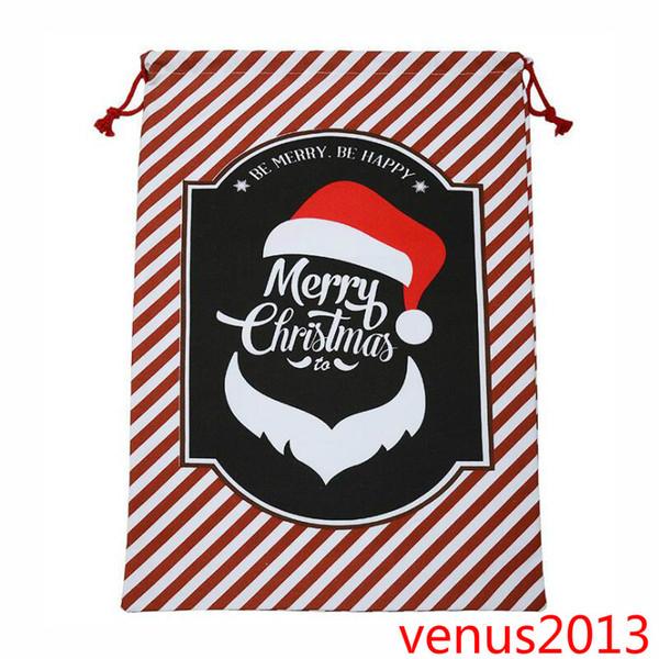 Heißer Verkauf Weihnachtsgeschenk Taschen Große Organische Schwere Tasche Kordelzug Mit Rentieren Weihnachtsmann Sack Taschen Weihnachtsschmuck
