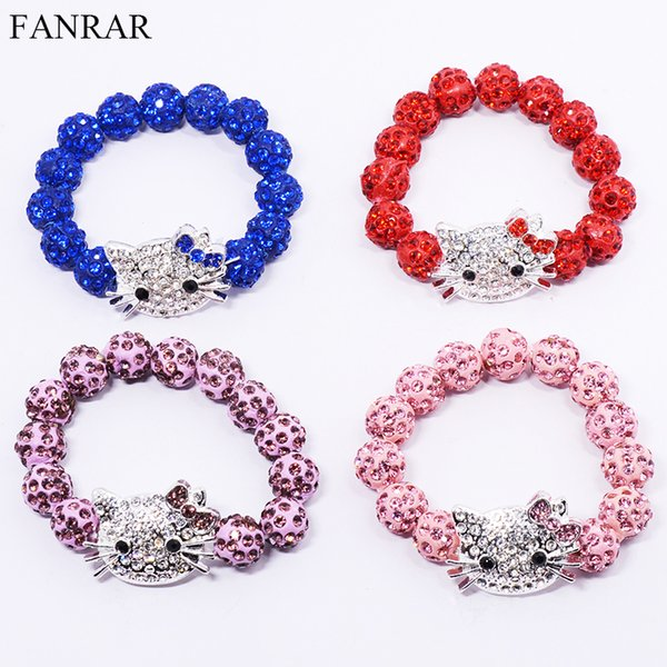 df5fd031b Pink Red Clay Hello Kitty Handmade Crystal Ball Bracelet Pave Candy Beads  Children Kids Baby Bracelets