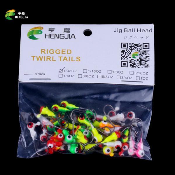 Wholesale 100pcs Mix Lead Round Jigs Head Fishing Lures Baits Jig Hook Fish Tackle Metal Jig Fishhooks HENGJIA