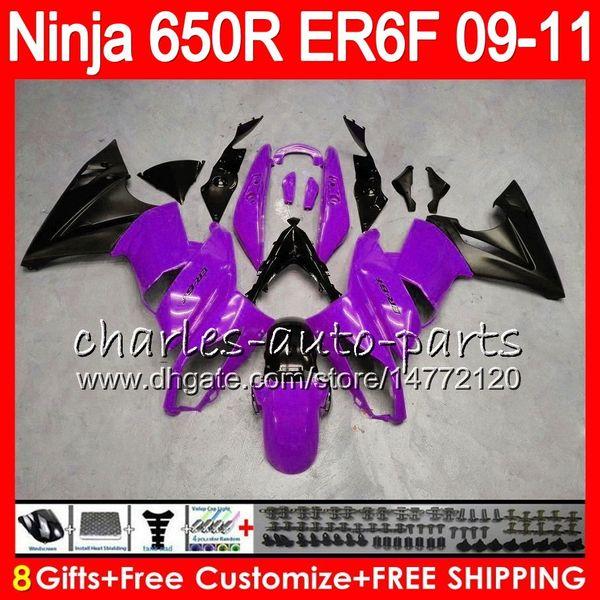 Body For KAWASAKI NINJA 650R ER 6F ER-6F 2009 2010 2011 Kit 114HM.51 Ninja650R ER6 F 650 R ER6F 09 10 11 Moto Bodywork Purple blk Fairing