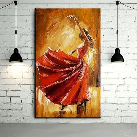 Spain dancer with red dress,Handcraft Modern Flamenco Dancer Abstract Wall Decor Arts Oil Painting On Canvas Multi sizes /Frame Options Ab12