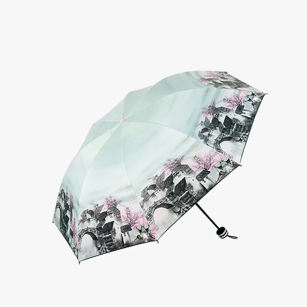 Ink painting umbrella Rainy Sunny Men Women Parasol Small Pocket Umbrella Gift Black Coating Paragus Promotion Gift