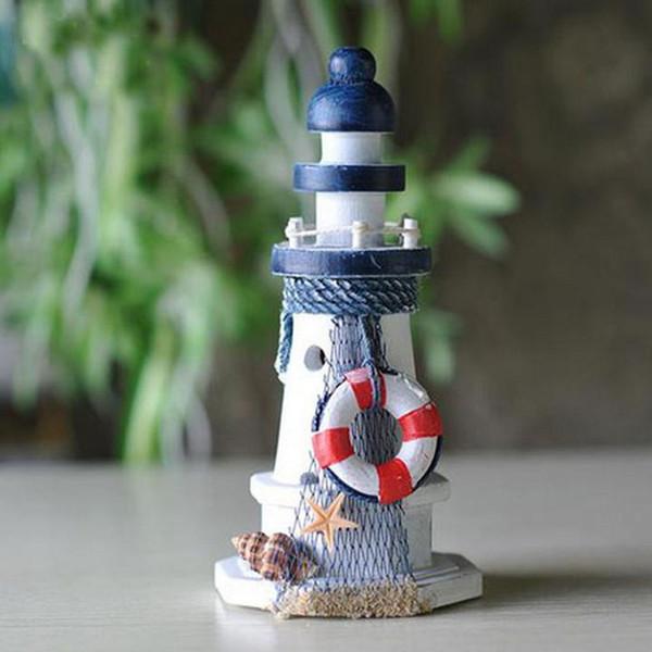 Estrella de mar Conchas Lifebouy Rojo Decoración náutica Faro de madera Torre de luz Hecho a mano Oficina en casa Estante Escritorio Muebles Artículo