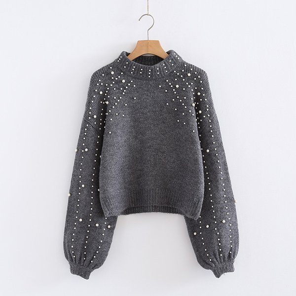 Female Autumn Winter Bead O Neck Puff Sleeve Short Pullover Knitted Sweater Women Pearl Long Sleeve Loose Gray Knitwear Tops
