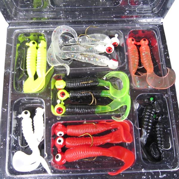 17Pcs/set Soft Fishing Lure Lead Jig Head Hook Grub Worm Soft Fishing Baits Shads Silicone Artificial Bait Fishing Tackle Pesca Y18100806