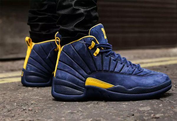2018 12 Michigan PSNY PE Public School Basketball Shoes For Man Blue Suede Sports Sneakers 12s Yellow M logo Basketball Shoes BQ3180-407