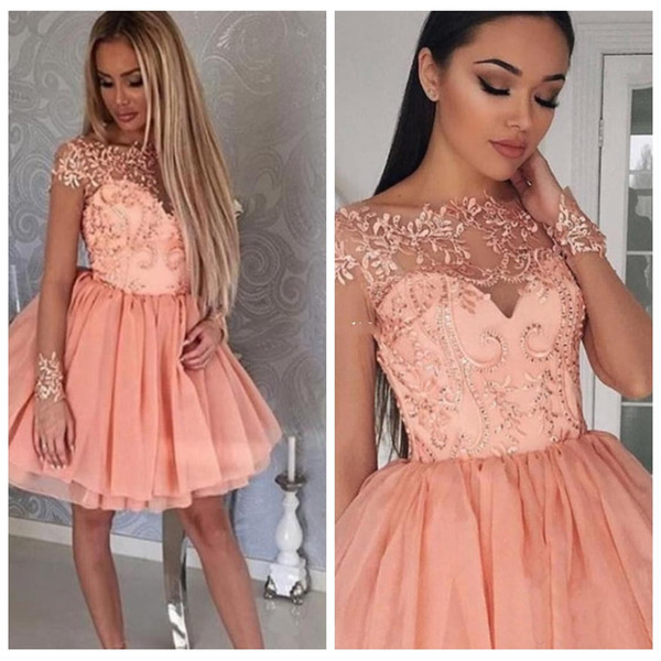 2018 Sheer Long Sleeves Party Dresses Ball Gown Homecoming Dresses 8th College Junior Homecoming Dress for Cocktail Prom Gowns