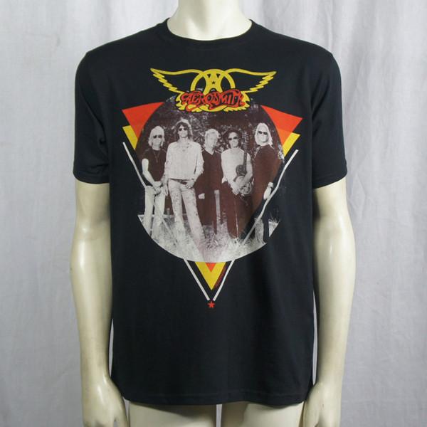 Authentic AEROSMITH Band Triangle Circle Photo Logo T-Shirt S M L XL XXL NEW