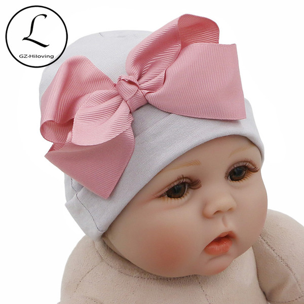 4PCS//Lot Flower Bonnet Hat Cap with Big Bow For Baby Girl Infant Newborn