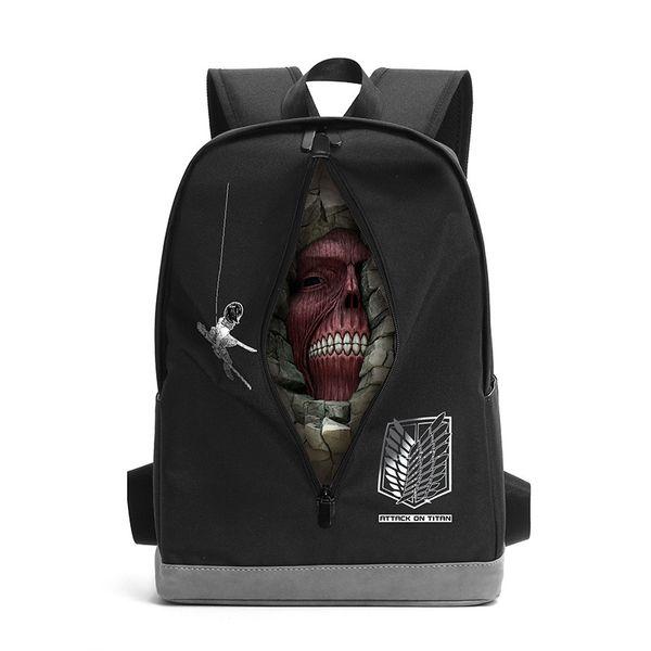 Attack on Titan Front Zipper Closure New Designer Rucksack Backpack Student Schoolbag Bag Girl Travel Laptop Cosplay Bag
