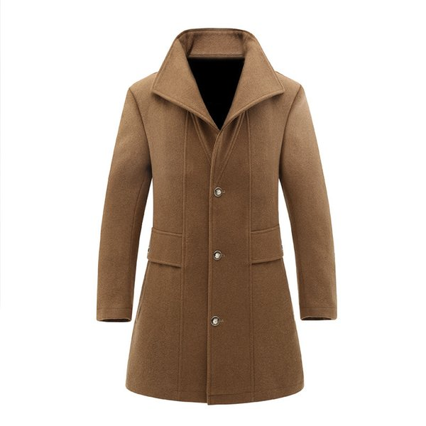 trench coat men long steampunk overcoat plus size 2018 fall winter jacket casual slim cotton windbreaker coffee cashmere wool