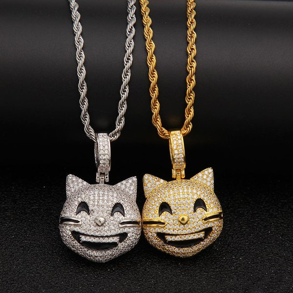 Gold Silver Smiling Cat Iced Out Pendant Choker Chains Hip Hop Jewelry Designer Jewelry Mens Necklace Gold Chains for Men