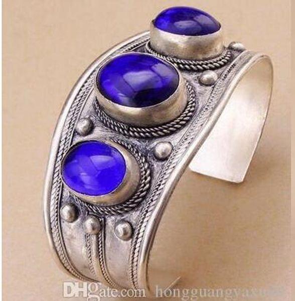 Bracelet manchette vintage avec perles en lapis lazuli ovale unisexe argent tibétain
