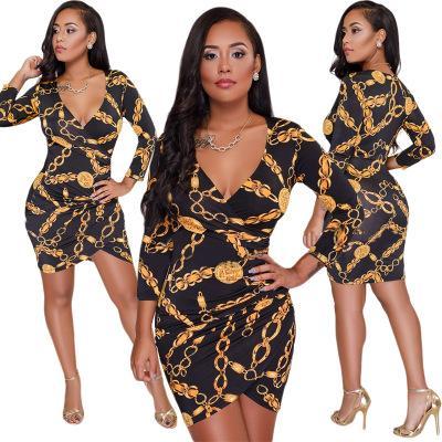 Freies Schiff Frauen Sexy Tiefem V-ausschnitt Gold Kette Print Unregelmäßiges Kleid Hohe Taille Bodycon Minikleid Clubwear