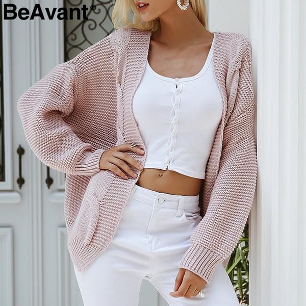 size 40 6ce3d eed49 Großhandel BeAvant Twist Gestrickte Herbst Pullover Damen Strickjacke 2018  Beiläufige Weiße Pullover Weibliche Elegante Warme Graue Pullover Winter ...