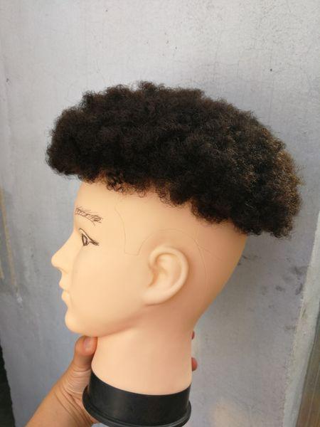 afro curl toupet de cheveux humains noir couleur court indien remy cheveux mens perruque postiche toupet pour les hommes noirs Livraison gratuite