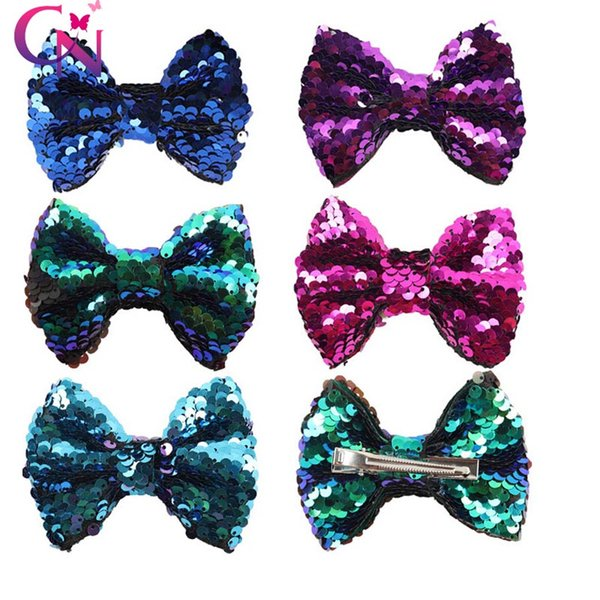 2018 Newest Mermaid Sequin Hair Bow Sparkly Child Hair Pin Girl Hair Clips Valentine Party Supply