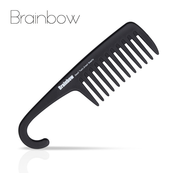 large tooth Brainbow 1pc Plastic Hair Brush Tooth with Hanger Anti-Static Large Wide Comb for Straight Wavy Hair