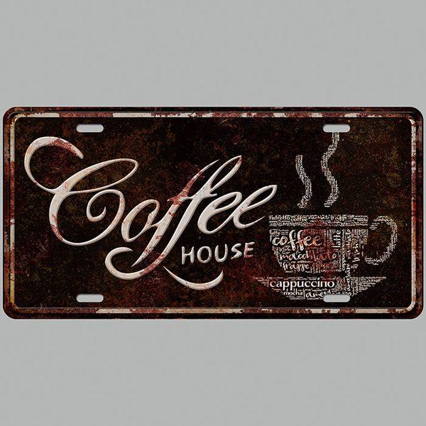 Coffee House Car Plates Number USA License Plate Garage Plaque Metal Tin Sign Bar Decoration Vintage Home Decor