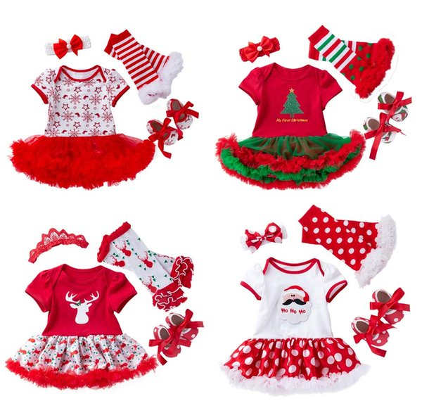Newborn Christmas Clothes Baby Bodysuit Set Infant Romper Tutu Dress Leg warmers Shoes Headband