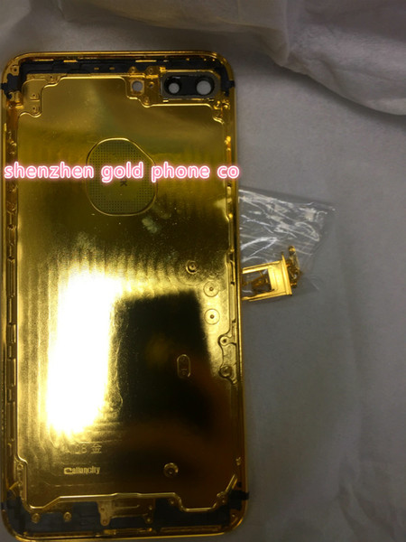 2018 new Hot fashion stylish real 24ct 24k gold for iphone 7 gold housing back panel 24K 24CT 24KT Mirror GOLD Golden co design housing