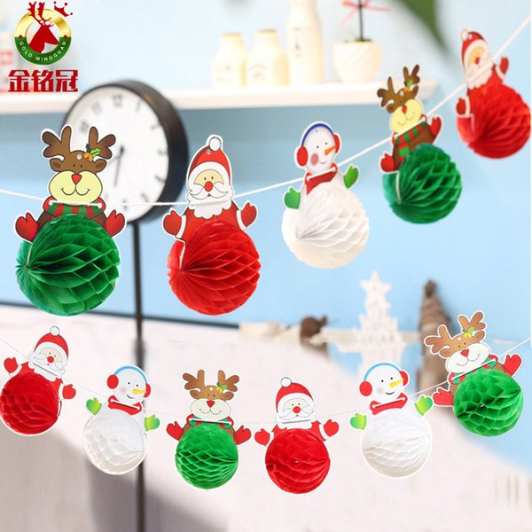 Christmas Ball Garland.Christmas Decorations Santa Claus Snowman Paper Ball Garland Holiday Arranging The Paper Brace Christmas Products Christmas Home Decor Christmas Home