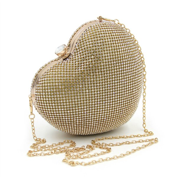 Beaded Heart Design diamonds women evening bags handle rhinestones Clutch purse for wedding bridal tote bag