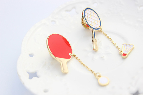 European and American Style Cartoon Accessories Badminton Table Tennis Ball Hard Enamel Brooches Pins Lapel For female Wholesale Drop Ship