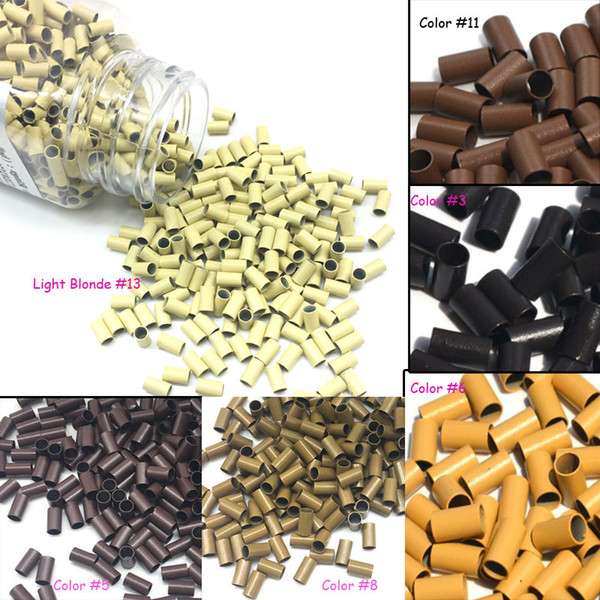 Micro Ring Loop Link Beads Straight Copper Beads Feather Hair Extension Tools 3.4x3.0x6.0mm 1000Pcs per lot bag