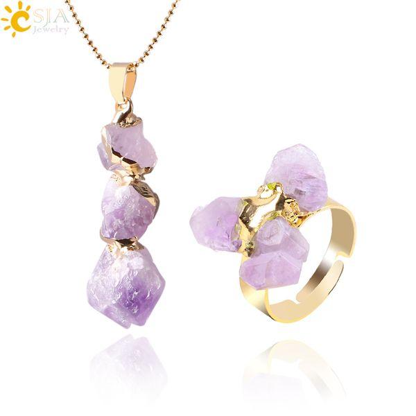 top popular CSJA Natural Yellow Purple Quartz Crystal Jewelry Set Irregular Amethyst Citrine Stone Bead Pendant Statement Necklace and Finger Rings E393 2020