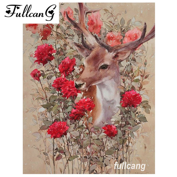 best selling FULLCANG diy full square diamond embroidery red flowers and deer diamond painting cross stitch kits mosaic 5d needlework D556
