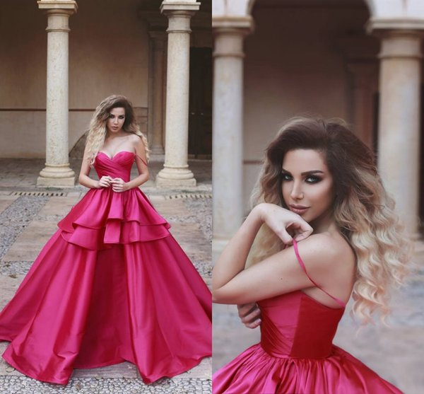 Elegant Fuchsia Long Evening Dresses Spaghetti Strap A Line Floor Length Evening Gowns Formal Women Cheap Special Occasion Prom Dresses