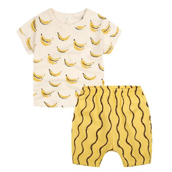 Junge Kleidung Sommer Casual Anzüge Nette Kinderkleidung Banana Printed Baumwolle Kurzarm Shirt Kurze Hosen