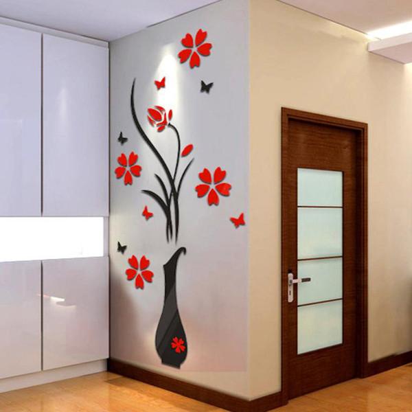 DIY Vazo Çiçek Ağacı Kristal Akrilik 3D Duvar Sticker Çıkartması Ev odası Çıkartmaları Duvar Sticker Sanat duvar kağıdı vinilos infantiles