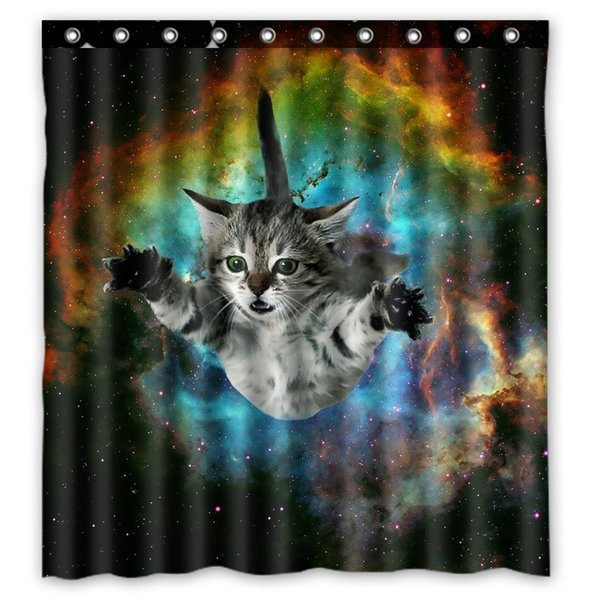 Multi-color optional Shower Curtain Funny Star Outside Space Nebula Galaxy Cat Painting Polyester Fabric Bathroom Curtain