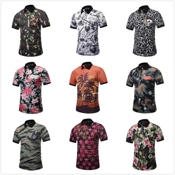 2018 Novo Verão Curto Mens Camisa Designer 3D Impressão Mens Camisas Polo Masculino Engraçado Estilo de Praia Camuflagem Crânio Top Tee Elegante T-shirt