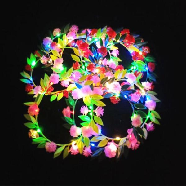 Гавайи пластиковые цветок светодиодный мигающий оголовье гирлянда женщины девушки светящиеся головные уборы аксессуары для волос свечение партии поставки
